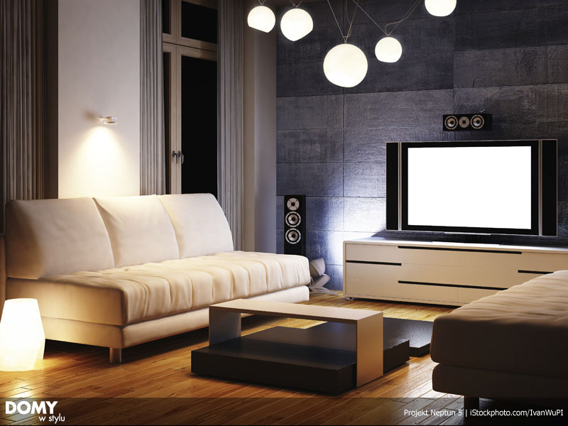 Sofa in modern 3d rendered interior
