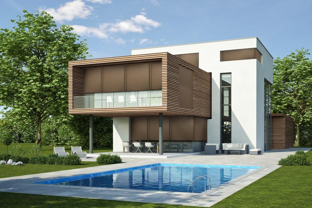 Moderne Villa 3 weiss holz - rolety okienne