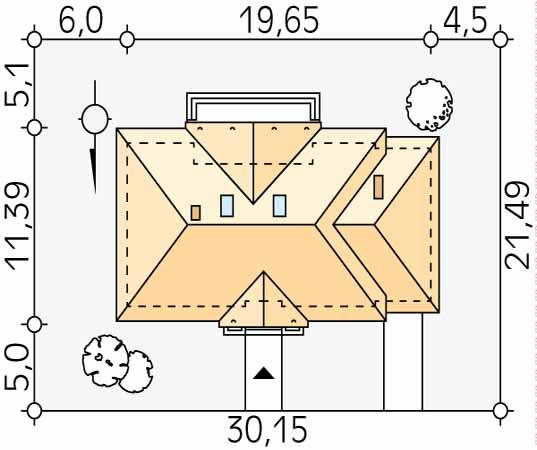 Projekt domu Borówka 4 bal - usytuowanie na działce