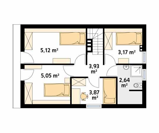 Projekt domu Poziomka bal - rzut piętra/poddasza