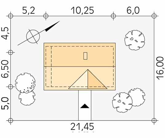 Projekt domu Poziomka bal - usytuowanie na działce