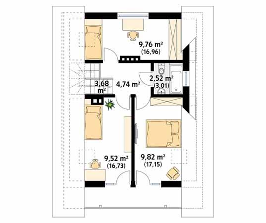 Projekt domu Takt 5 - rzut piętra/poddasza