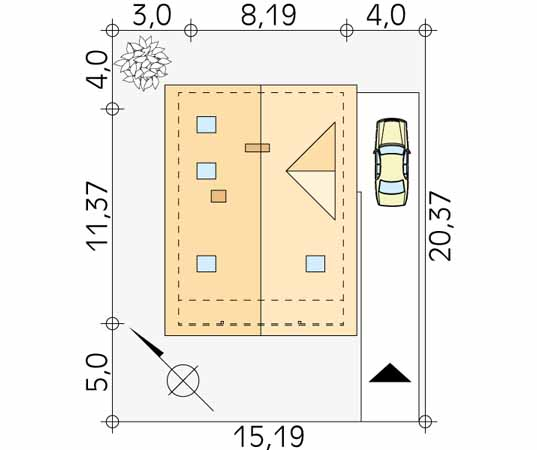 Projekt domu Takt 5 - usytuowanie na działce